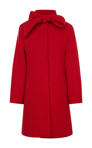 Medium oscar de la renta red velvet bow coat