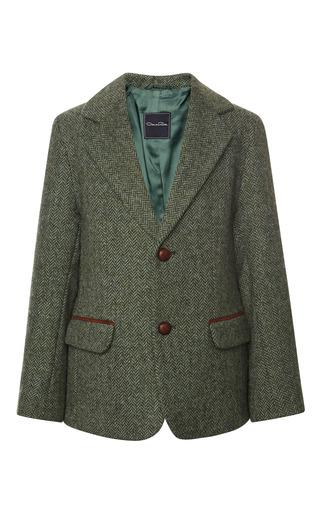 Medium oscar de la renta green tweed blazer 2