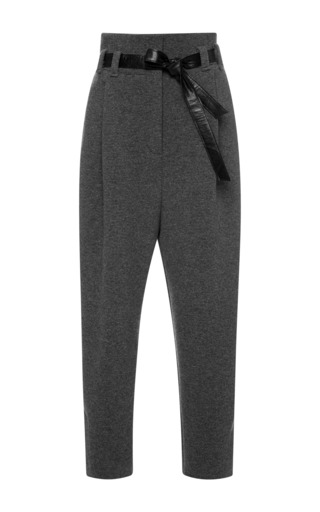 Medium kalmanovich dark grey grey trousers with leather belt