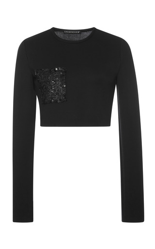 Medium kalmanovich black top with paillette pocket