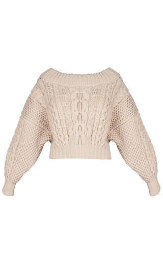Medium ruban brown beige knitted sweater