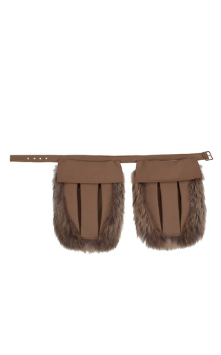 Medium ruban brown camel utility belt with fur trim