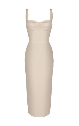Medium ruban brown beige leather bustier dress