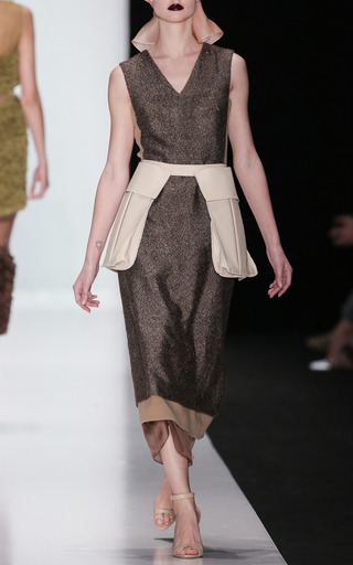 Brown Metallic Flecked Midi Shift Dress by RUBAN for Preorder on Moda Operandi