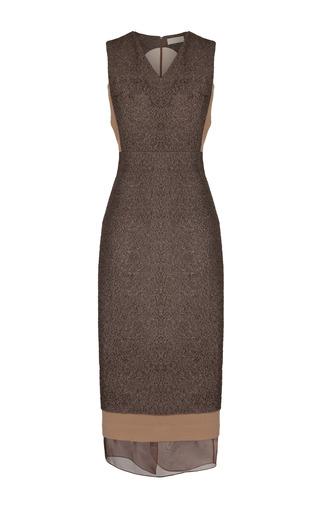 Medium ruban brown brown metallic flecked midi shift dress