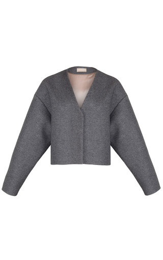 Medium ruban dark grey short grey wool jacket