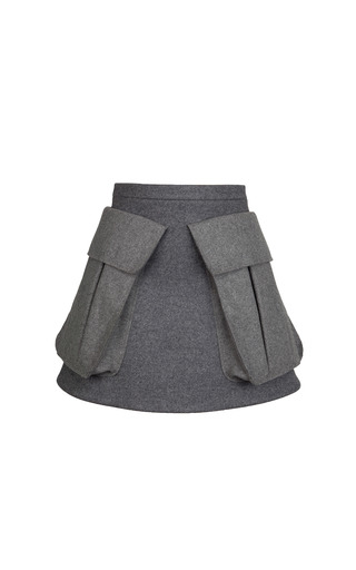 Medium ruban dark grey grey wool skirt