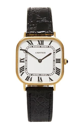 Medium foundwell metallic cartier 18k soft square mens watch