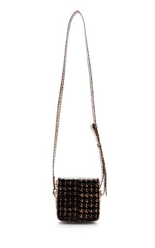 Jill Haber Harrison Soft Square Cross Body Bag In Black & White Russian Snake by JILL HABER for Preorder on Moda Operandi