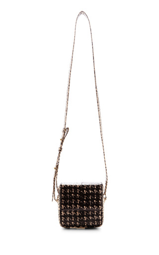 Medium jill haber white jill haber harrison soft square cross body bag in black white russian snake