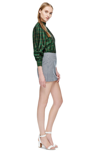 Maggy Frances Navy Gingham Skirt by MAGGY FRANCES for Preorder on Moda Operandi