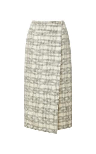 Medium yigal azrouel multi yigal azrouel windowpane plaid wrap skirt