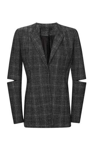 Nonoo Onyx Plaid Jacket With Detachable Fur Collar by MISHA NONOO for Preorder on Moda Operandi