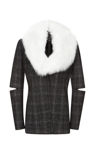 Medium nonoo black nonoo onyx plaid jacket with detachable fur collar