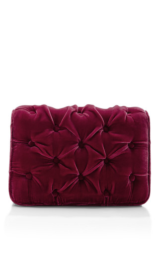 Benedetta Bruzziches Carmen Velvet Strawberry Shoulder Bag by BENEDETTA BRUZZICHES for Preorder on Moda Operandi