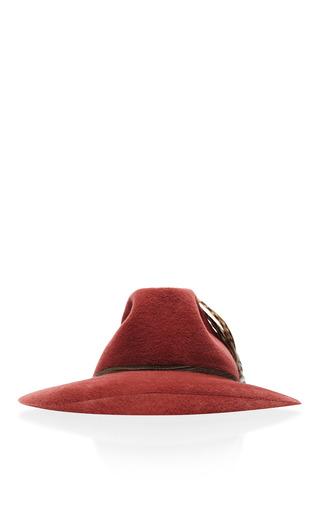 Satya Twena Rose Quartz Velor Hat With Purple Feathers by SATYA TWENA for Preorder on Moda Operandi