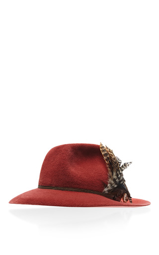 Medium satya twena red satya twena rose quartz velor hat with purple feathers
