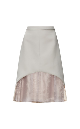 Medium honor pink honor stretch twill skirt with pleated silk underlay