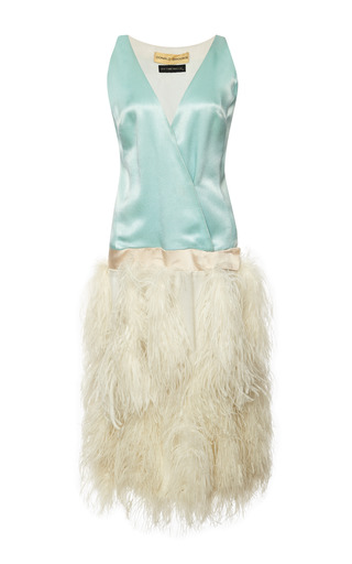 Medium new york vintage white new york vintage donald brooks blue satin dress with white ostrich feathers