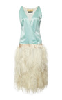 New York Vintage Donald Brooks Blue Satin Dress With White Ostrich Feathers by NEW YORK VINTAGE for Preorder on Moda Operandi