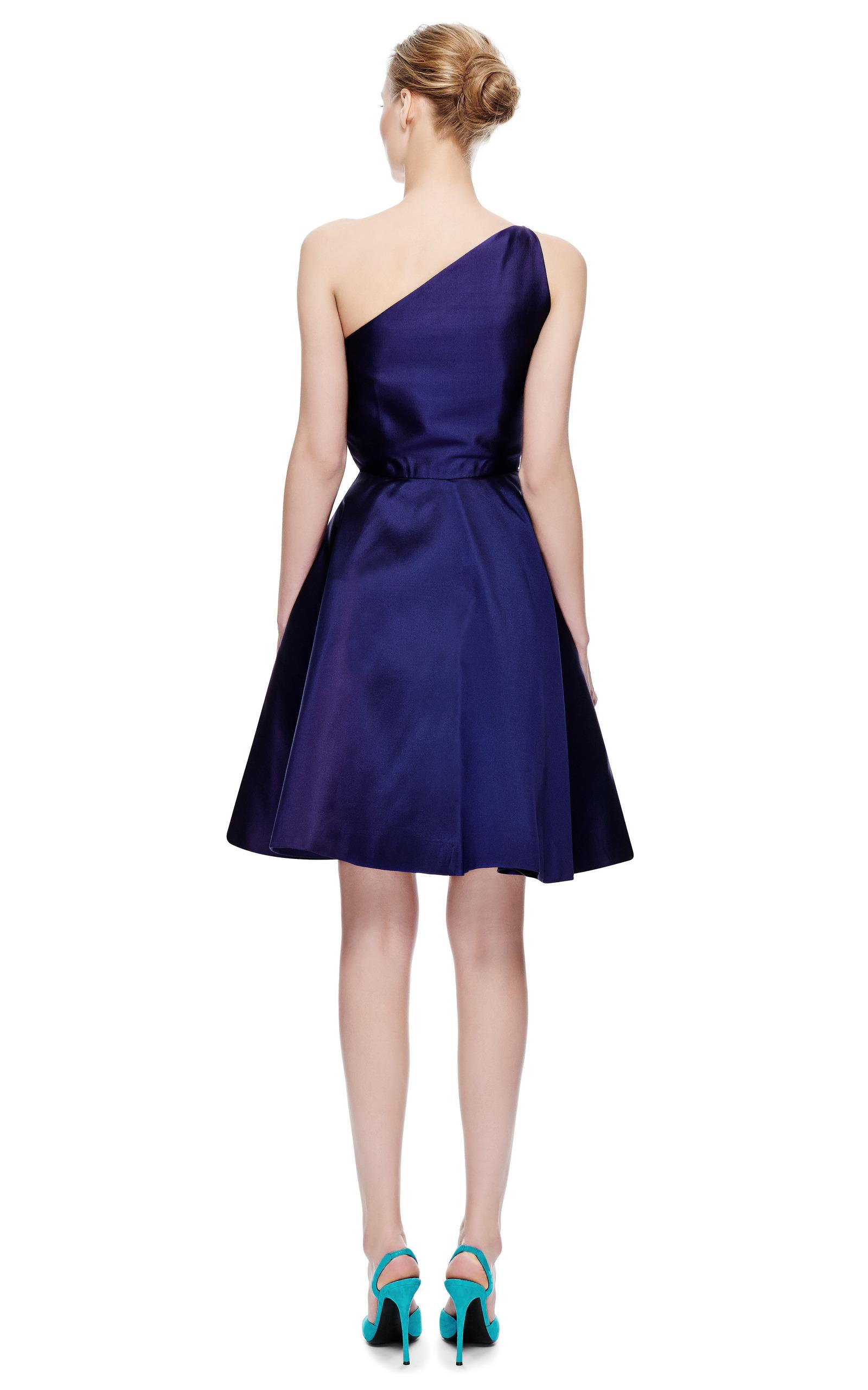 New York Vintage Carolyne Roehm Purple One Shoulder Cocktail Dress ...