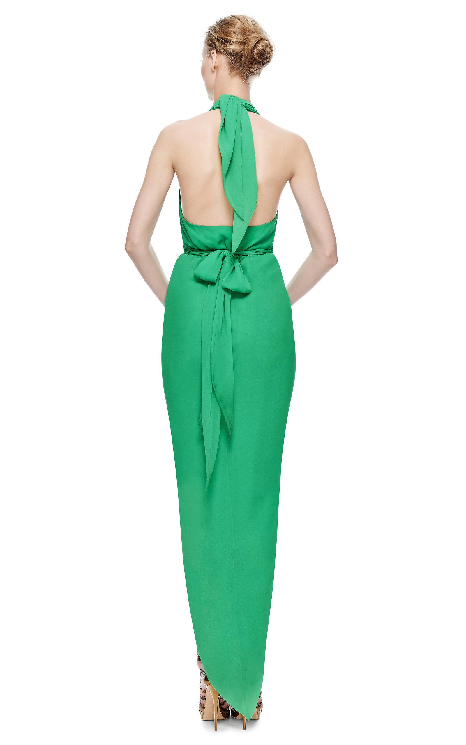 New York Vintage Halston Green Chifon Halter Gown by New York ...