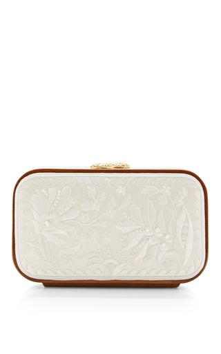 Medium katrin langer white katrin langer snow white floral brocade embroidered square bag
