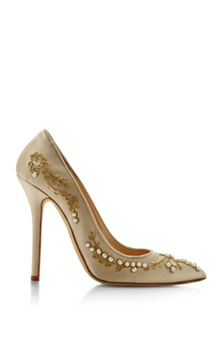 Medium oscar de la renta brown oscar de la renta grace champagne pump