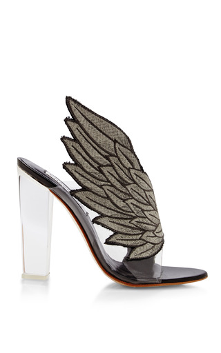 Medium charkviani white charkviani wing sandal with plexi heel