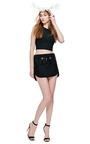 Sachinbabi Collection Black Mini Skirt With Embroidered Front by SACHIN & BABI for Preorder on Moda Operandi