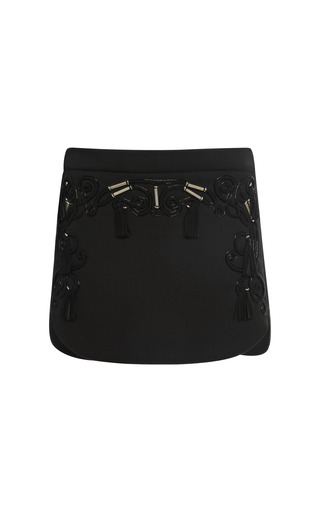 Medium sachin babi black sachinbabi collection black mini skirt with embroidered front