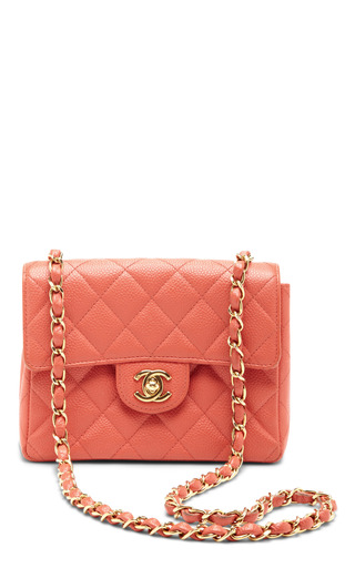 Medium what goes around comes around coral vintage chanel coral caviar leather bag