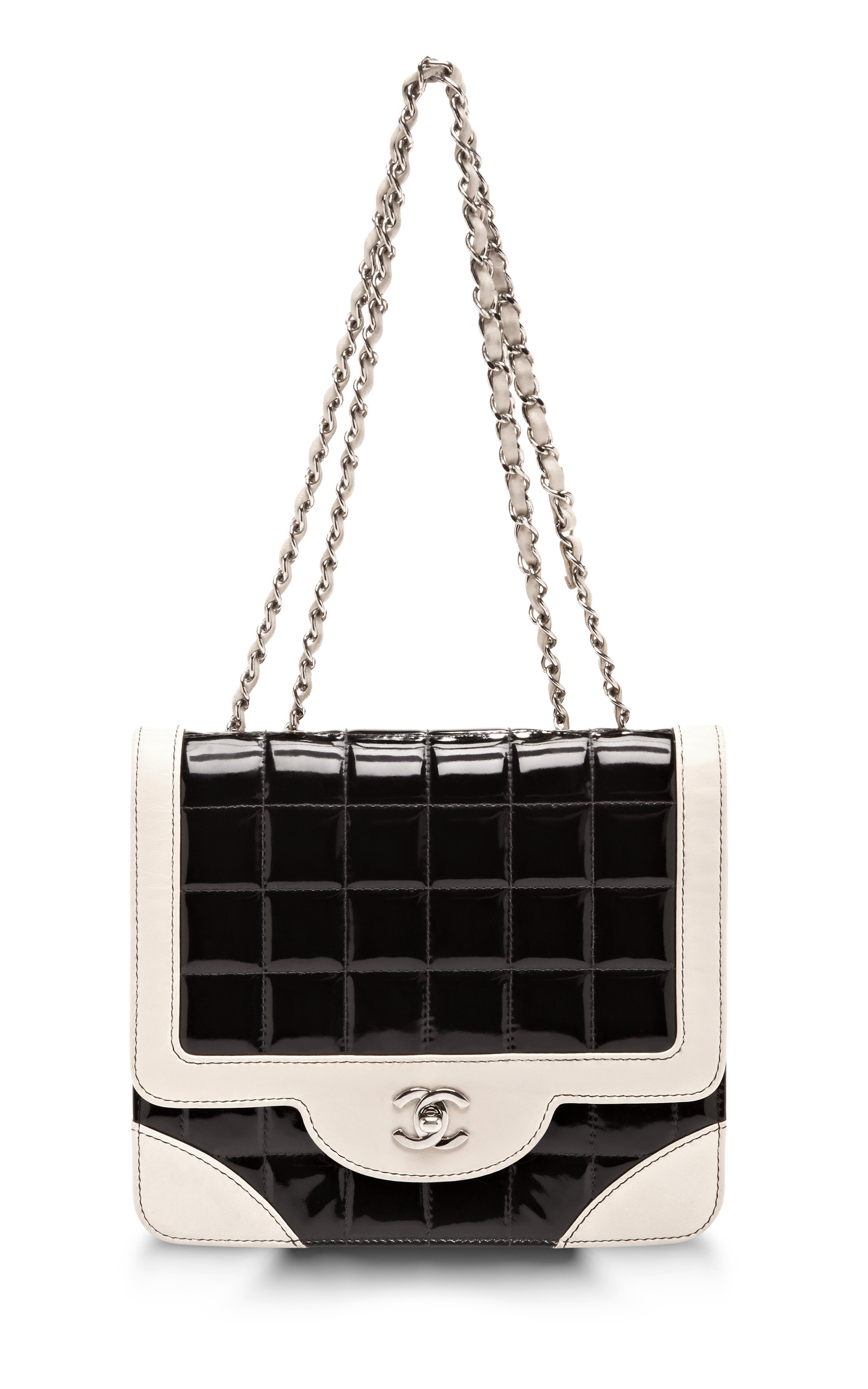 Vintage Chanel Black Patent With Cream Trim Bag By Moda