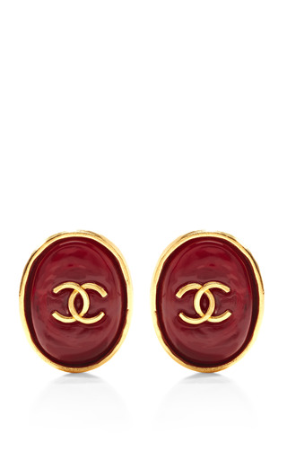 Medium what goes around comes around red vintage chanel red gripoix oval earrings