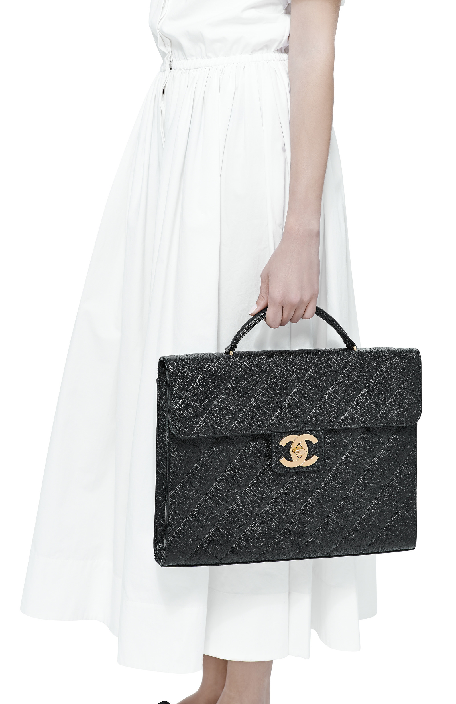 b75ef0bd9699 What Goes Around Comes AroundVintage Chanel Black Caviar Briefcase. CLOSE.  Loading. Loading. Loading. Loading