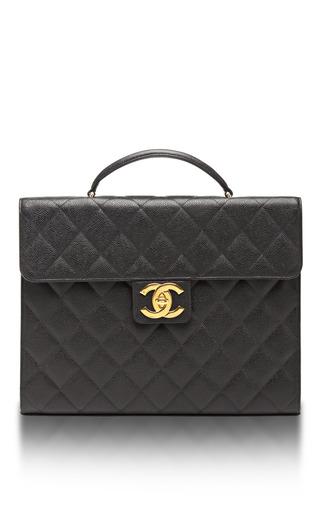 Medium what goes around comes around black vintage chanel black caviar briefcase