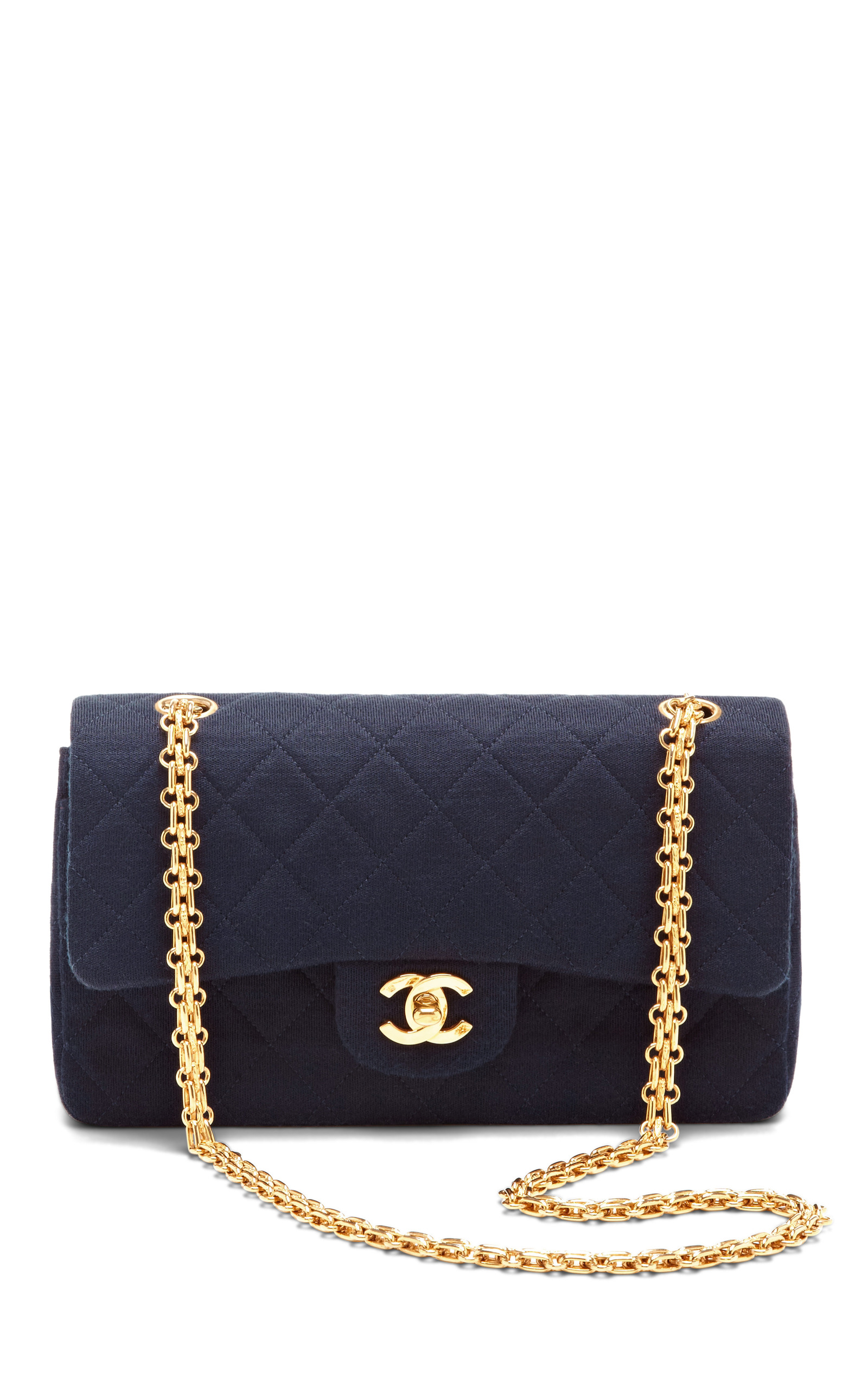 f8bc988bedcc Vintage Chanel Blue Jersey Classic Double Flap Bag by What Goes ...