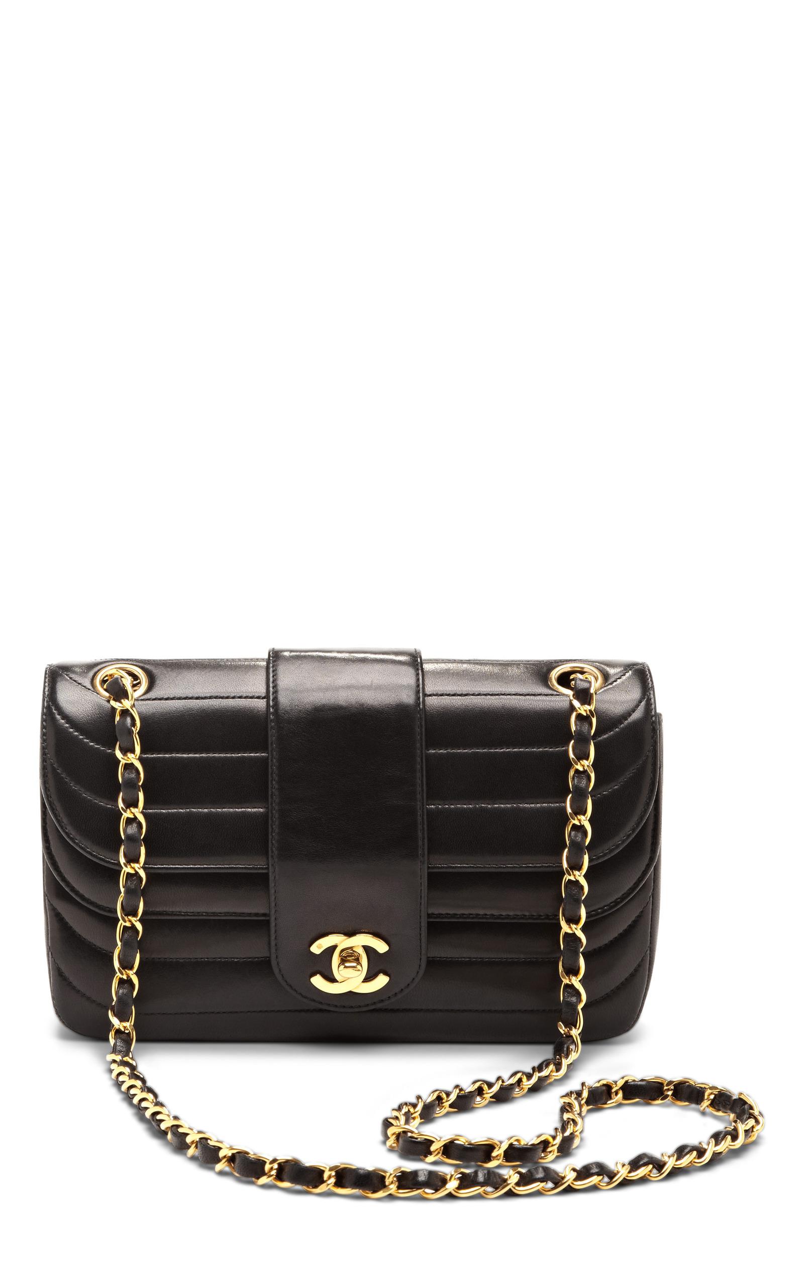 e91bf8e74c99 Collectible JacketsVintage Chanel Black Horizontal Stitch Double Flap  Lambskin Bag. CLOSE. Loading