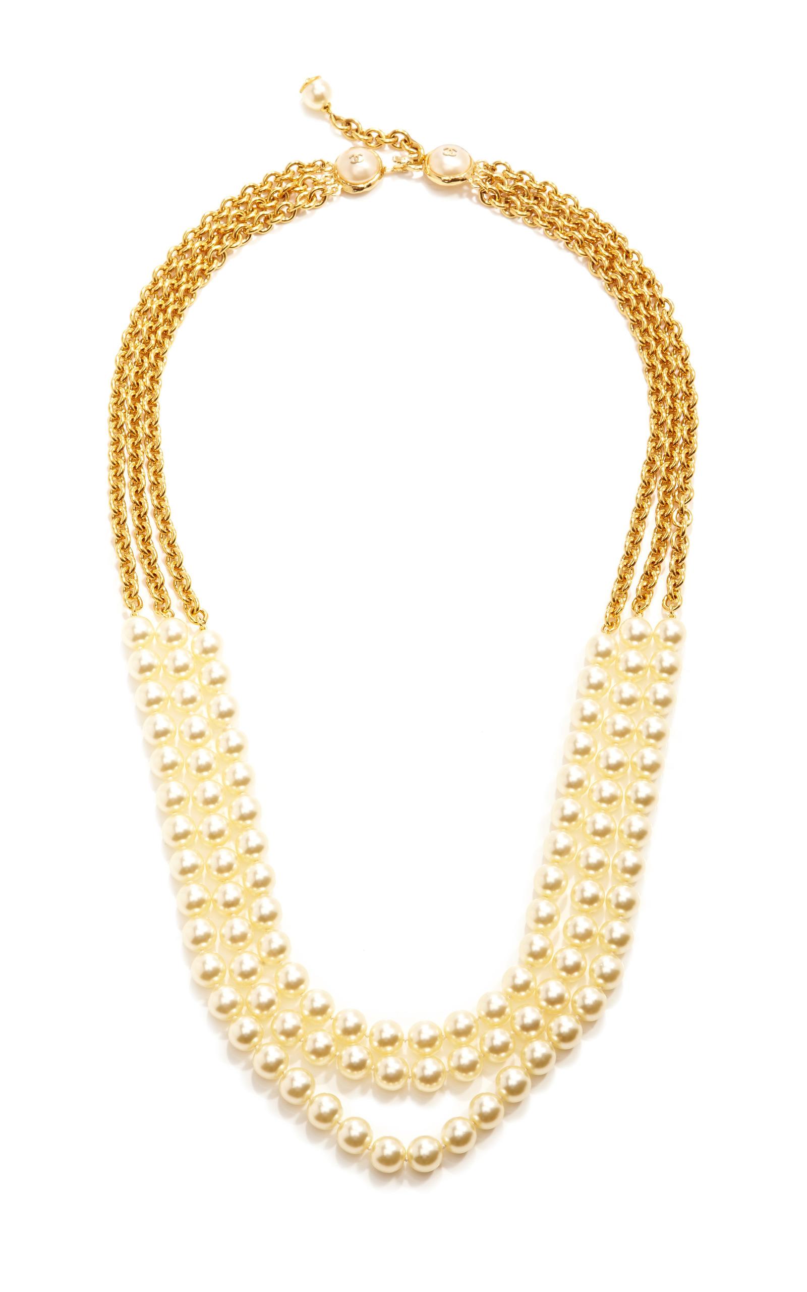 Vintage Chanel Three Strand Pearl Necklace By Moda Operandi