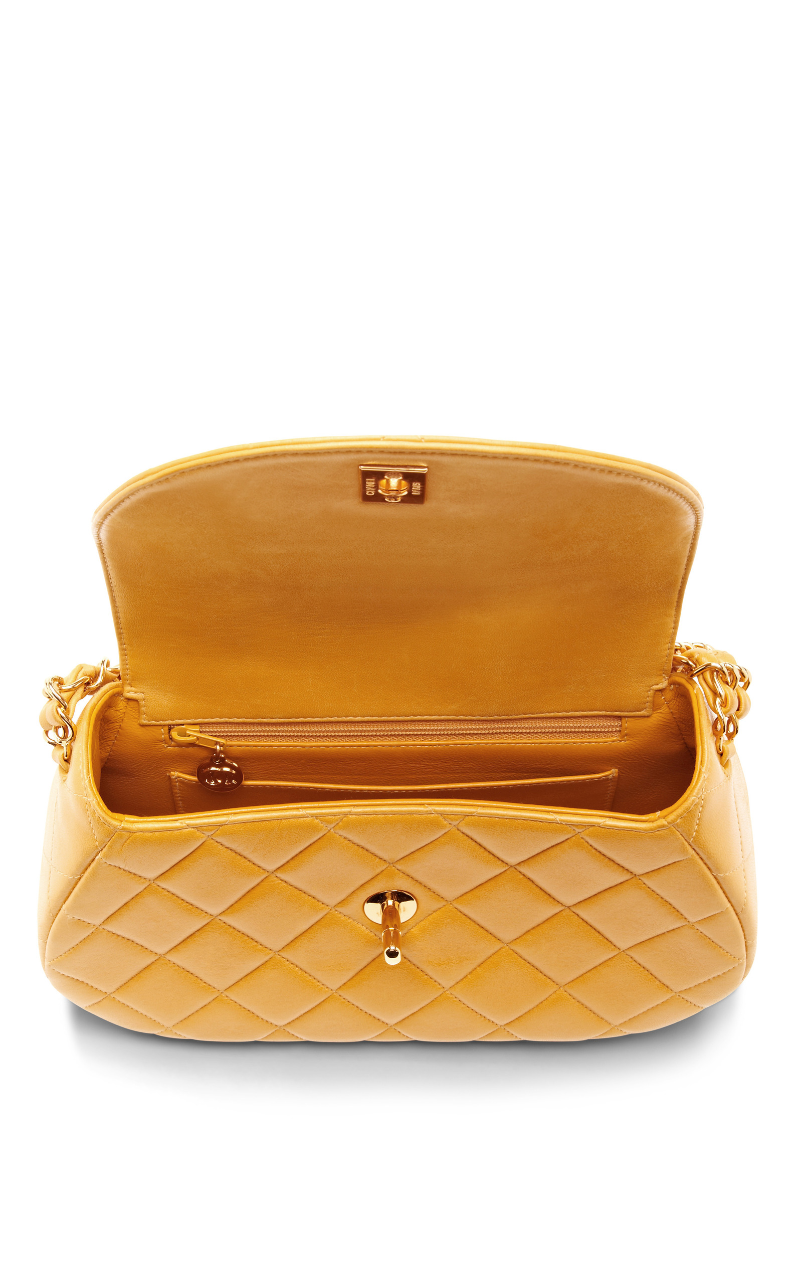 98bbf17cac25 Collectible JacketsVintage Chanel Yellow Quilted Round Flap Bag. CLOSE.  Loading