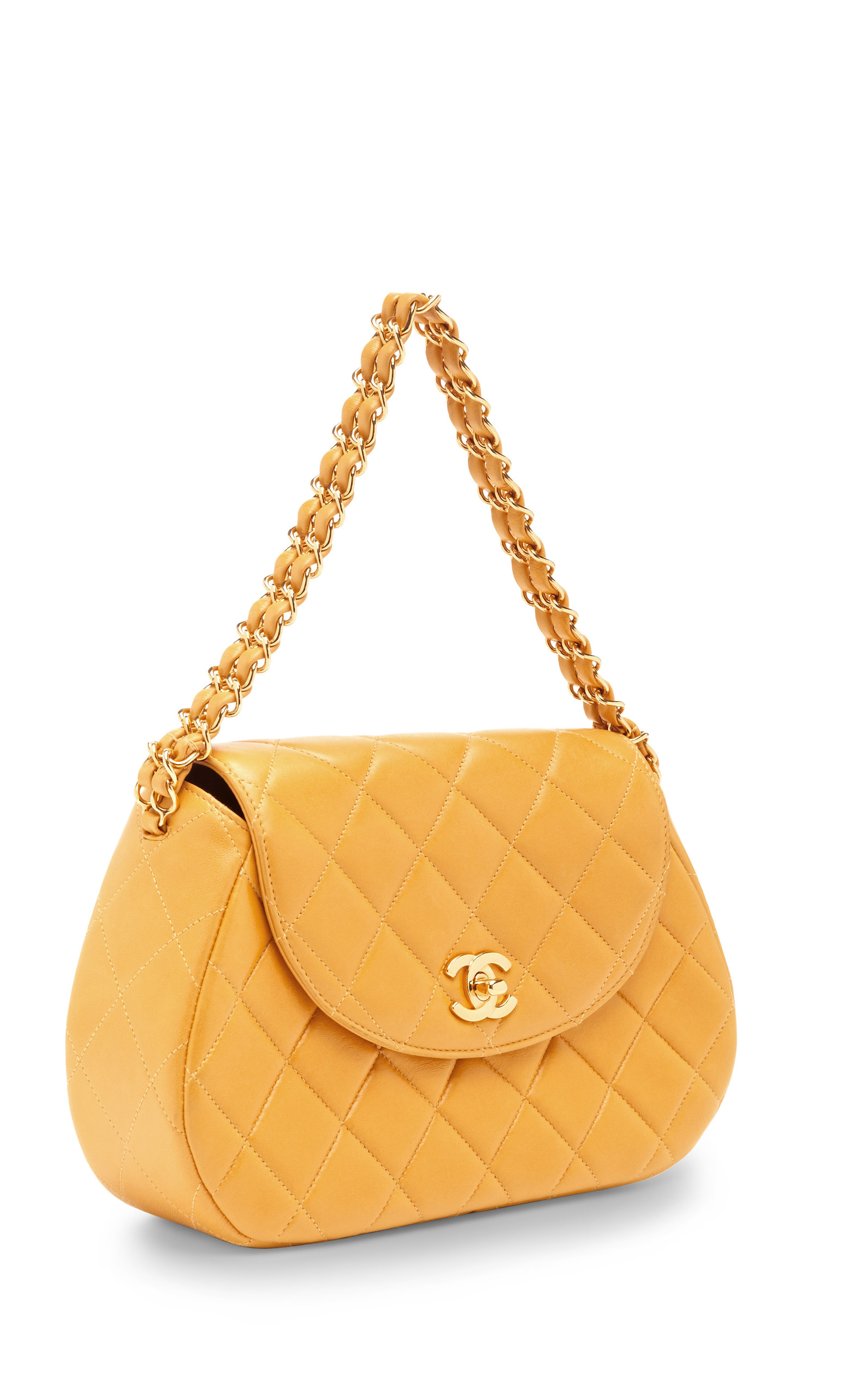 554fd03b8e48 Collectible JacketsVintage Chanel Yellow Quilted Round Flap Bag. CLOSE.  Loading. Loading