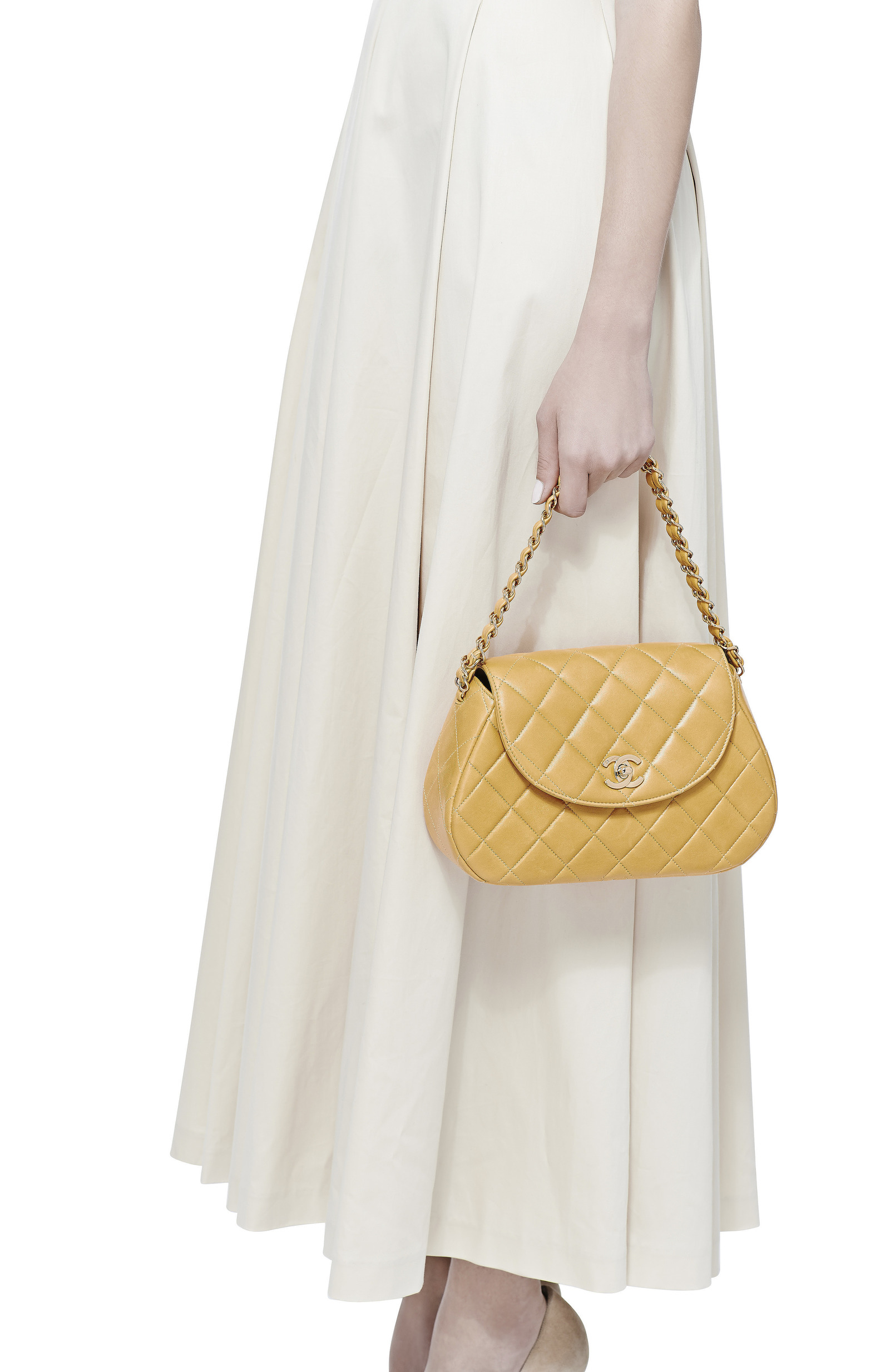 6032b1caf5b8 Collectible JacketsVintage Chanel Yellow Quilted Round Flap Bag. CLOSE.  Loading. Loading. Loading. Loading