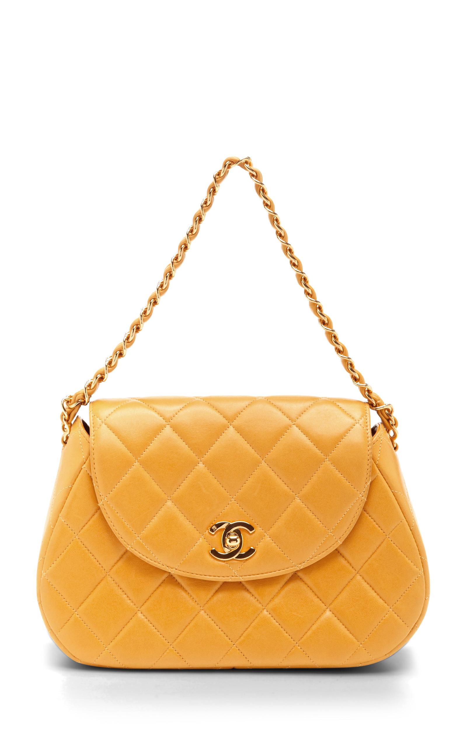 151e6c974ead85 Collectible JacketsVintage Chanel Yellow Quilted Round Flap Bag. CLOSE.  Loading