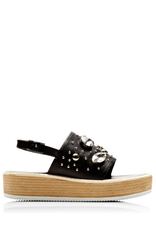 Medium tibi black hedda flatform sandal 4