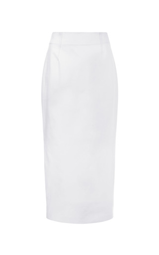 Medium prabal gurung white tie front cotton pencil skirt 2