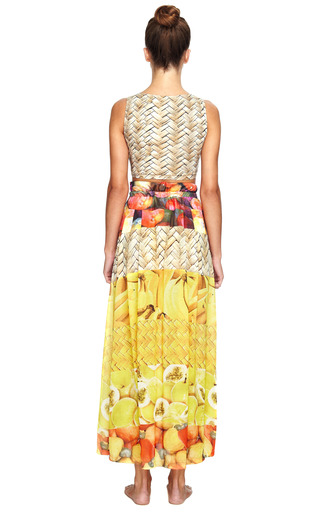 Cashew Polyester Long Skirt by AGUA DE COCO Now Available on Moda Operandi