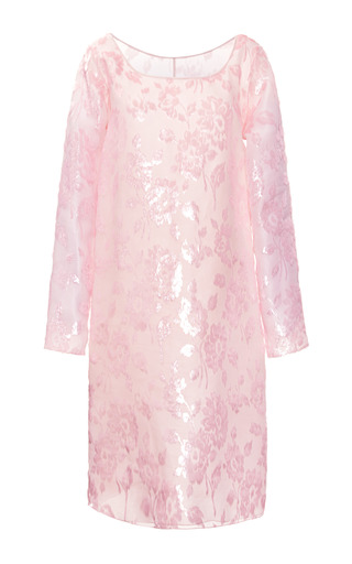 Medium rochas pink flocked velvet silk dress