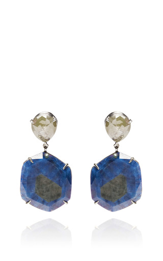 Medium nina runsdorf blue blue sapphire slice and diamond pave earrings