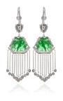 18 K White Gold Slice Emerald And Organic Diamond Briolet Earrings With Diamond Fringe by NINA RUNSDORF for Preorder on Moda Operandi