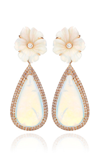 Medium nina runsdorf white 18k pink gold and white opal flower earrings